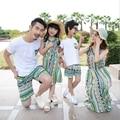 2016 familia coincidencia ropa Mom / Dad / bohemio vestido camisetas pantalones cortos de verano que arropan la familia