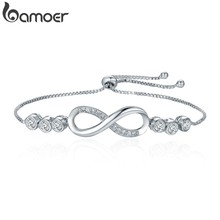 BAMOER Hot Sale Popular Silver Color Endless Love Infinity Bracelet Lace up Tennis Bracelets for Women Fashion Jewelry YIB037(China)