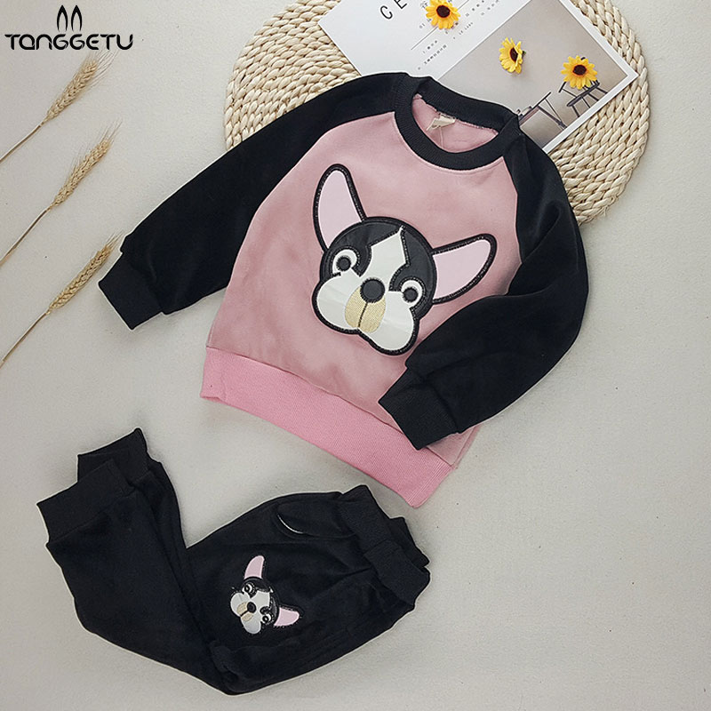 2018 Autumn Girls Sport Suits New Baby Girls Clothing Sets With Cute Cartoon Puppy Children Set Tracksuit 3 Color T-shirt+ pants2018 Autumn Girls Sport Suits New Baby Girls Clothing Sets With Cute Cartoon Puppy Children Set Tracksuit 3 Color T-shirt+ pants