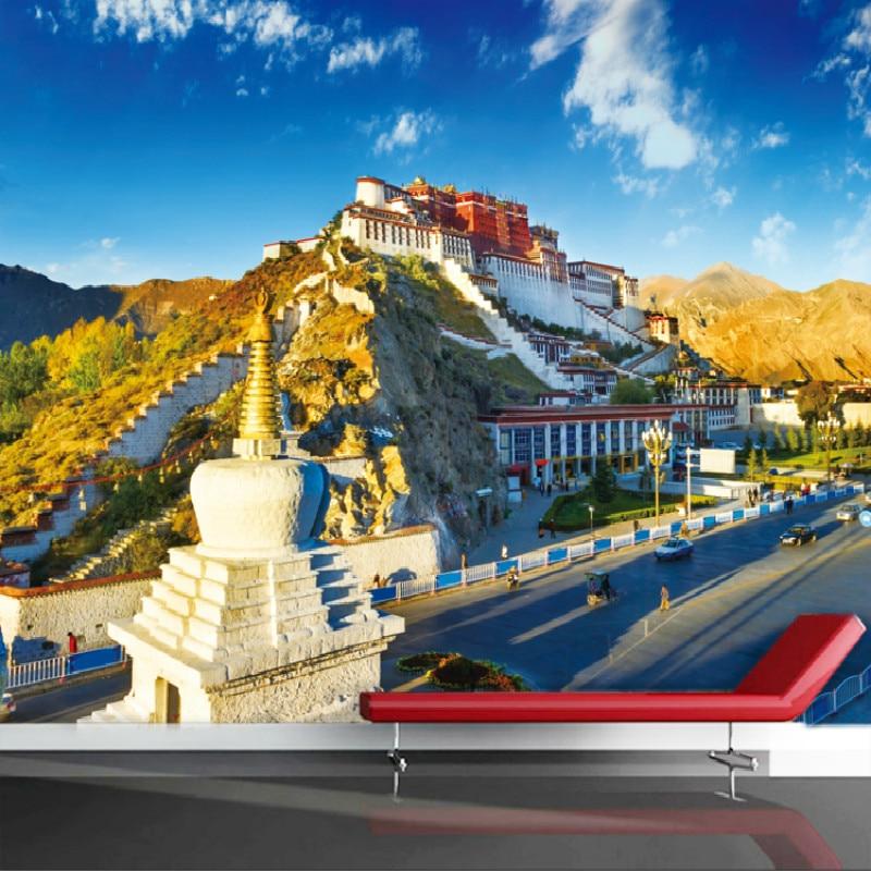 Tibet Potala Palace landscape 3D wallpaper for wall 3d photo custom personalized wallpaper wall shop restaurant цена 2017