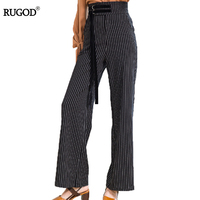 RUGOD 2017 Autumn Winte Striped Fashion High Waist Plaid Wide Leg Pants Female Plus Size Loose
