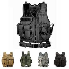 Tactical Vest Camo Hunting Military Men Camping Hiking Vest Body Armor Molle Painball Outdoor Equipment Vest With Pistol Holster все цены