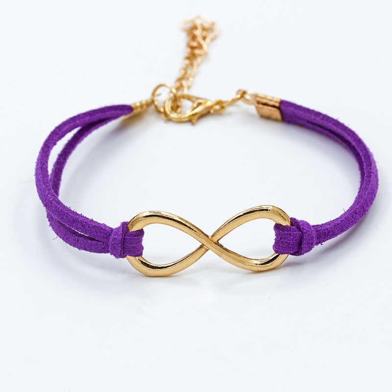 Nuevo europeo barato Punk moda Vintage Infinity 8 pulseras de cuero cruzadas para mujeres regalo brazaletes hombres joyería pulseras 12 colores