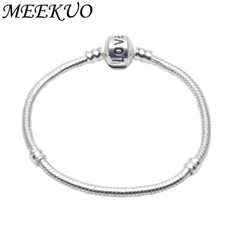 2018 New Antique Silver Snap Clasp Snake Chain Charm Fit Pandora Bracelet For Women Bangle European DIY beads Necklace CL01