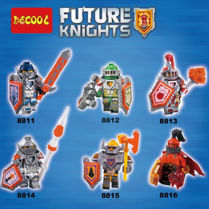 6pcs Nexo Knights Figures Clay Aaron Lance Axl Macy Ultimate General Building Bricks Blocks Toys