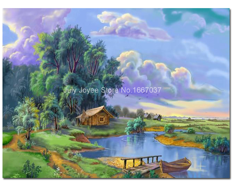 Campo de la casa paisaje r o paisaje pintura diamante - Paisajes de casas ...