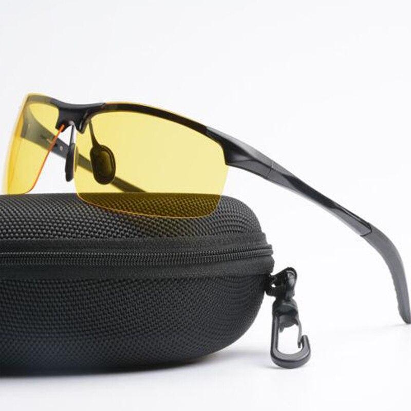 Moda masculina Óculos Noite Óculos de Visão Motoristas de Carro UV400 Polarizer Óculos de Sol Polarizados Condução Óculos de Sol/Amarelo