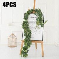 4pcs Artificial Greenery Eucalyptus Vines Rattan Garland artificial Fake Plants Ivy Wreath Wall Decor Vertical Garden