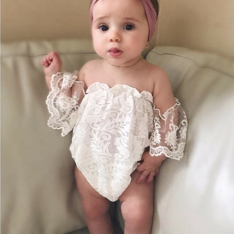Solid Off The Shoulder Lace Bodysuit For Baby Girl