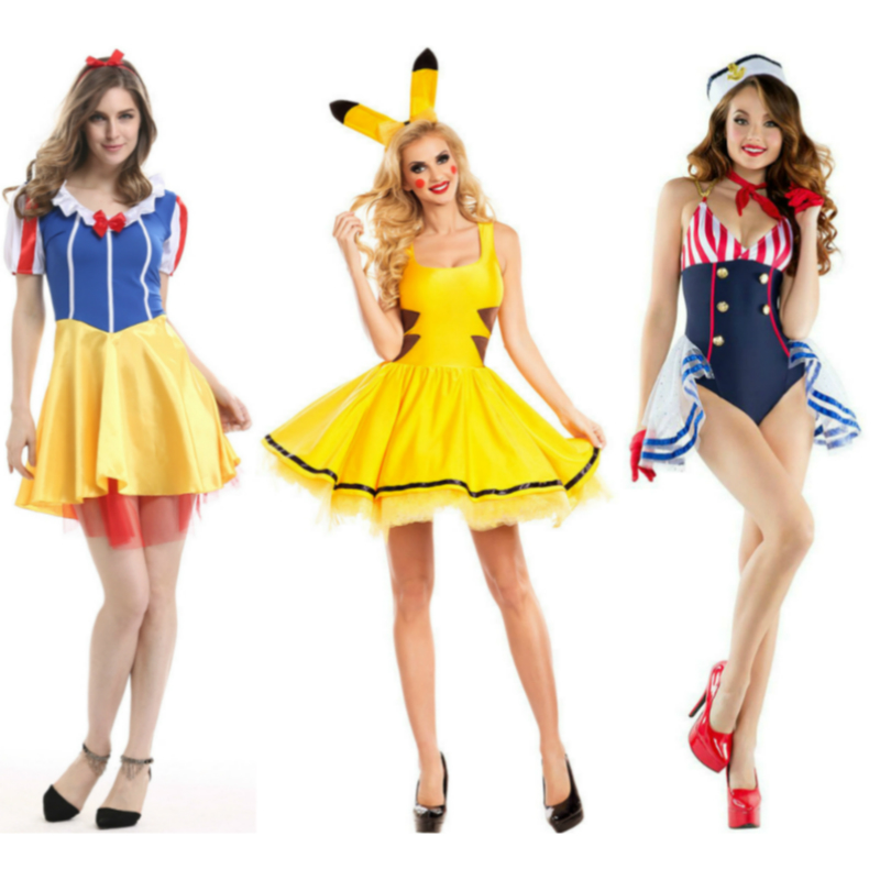 Princess Women Dress Anime Cosplay for Snow White Pirate Lovely Cartoon Pikachu Halloween Carnival Party Vestidos Costumes Adult