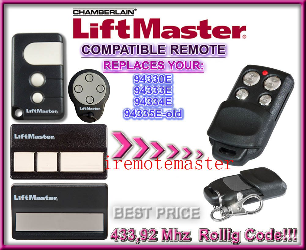 Remote control compatible with liftmaster 94330E, 94333E, 94334E, 94335E gate garage door opener dhl free shipping chamberlain liftmaster 94335e 94330e 94334e 94333e replacement garage door remote control 433mhz