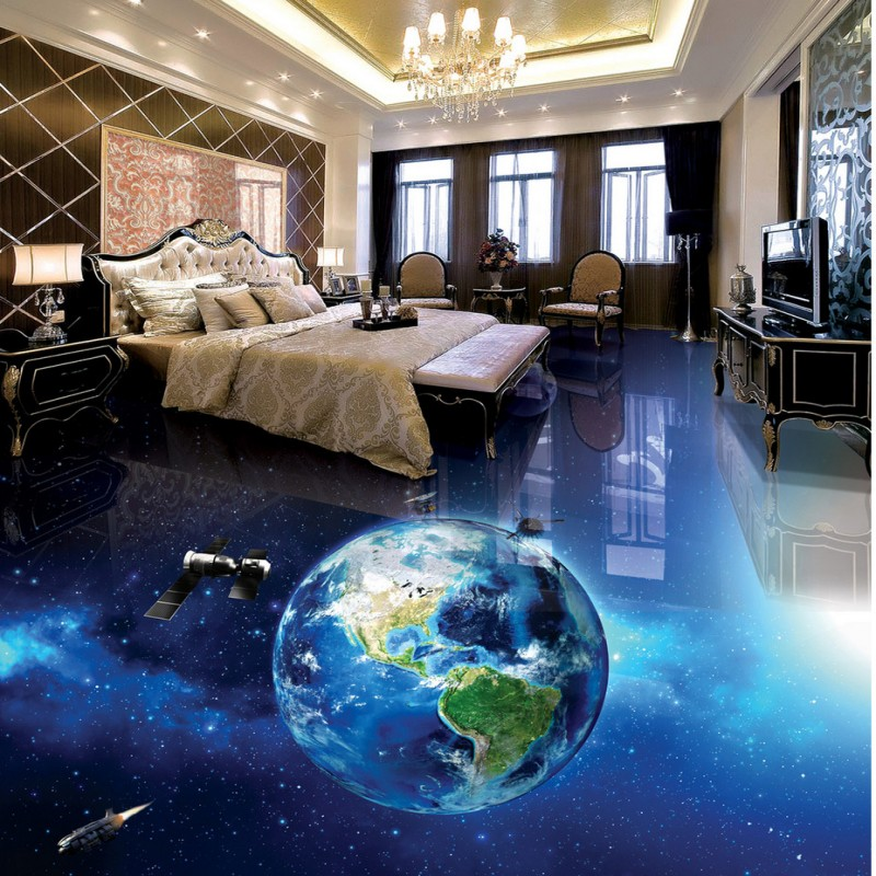 Free shipping custom self-adhesive home decoration floor thickened wallpaper Spacecraft 3D bathroom living room floor mural free shipping marble texture parquet reliefs 3d floor painting lifelike thickened wallpaper self adhesive bathroom mural