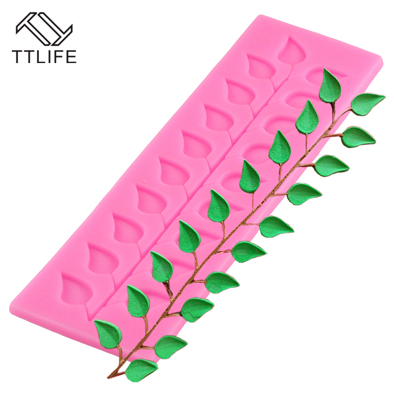 TTLIFE Leaf Shape Silicone Mold Chocolate Cookie Baking Mould Fondant Jelly Mold Ice Cube Tray Sugarcraft Dessert Baking Dishes