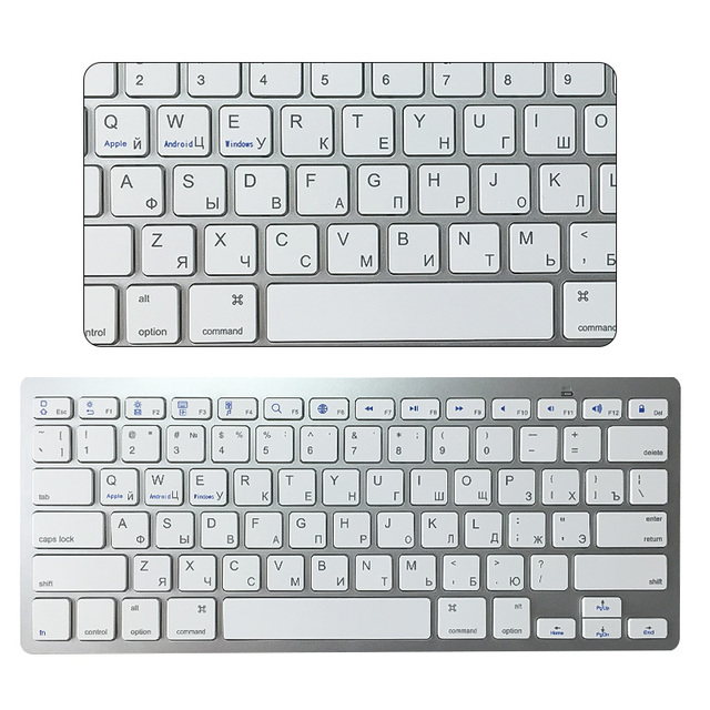 9d95735a7da Wireless Bluetooth Russian Keyboard English Noiseless Ergonomic White  Keyboard for Android Phone Tablet Computer Desktop