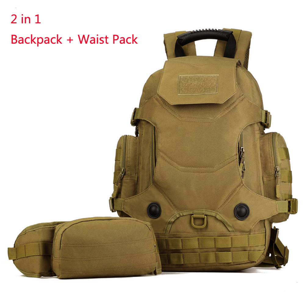 ФОТО 2 in 1 Molle System Camouflage Nylon Backpack Combo with Waist bag Men Women Military 14 inch Laptop Bags Casual Travel School
