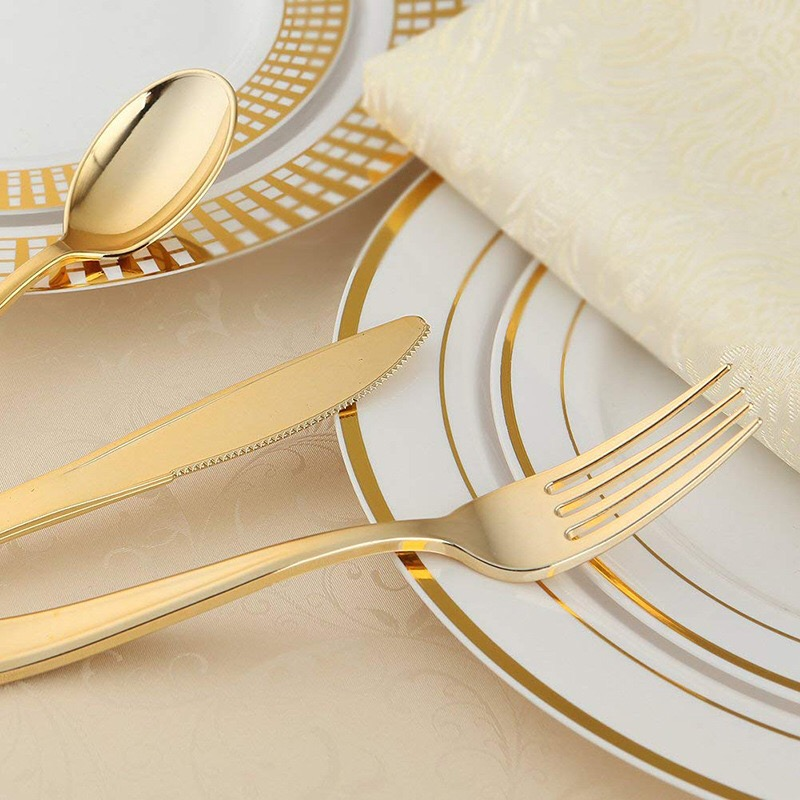 12Set/36pcs Disposable Plastic Cutlery Rose Gold Knife Fork Spoon Western Dessert For Wedding Baby Shower Birthday Party