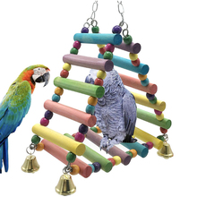 Parrot Ladder Cockatial Colorful Wooden Triangles Swing Hanging Wooden Ladder with Bell For Birds Climb toys Parrot Bites toys kampfer wooden ladder сeiling