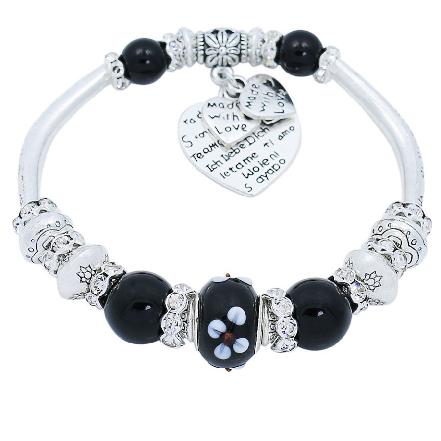 Black Glass Bead Heart Charm Bracelet For Women Adjustable Handmade Strand Beaded Bracelets & Bangles Jewelry Gift 660040