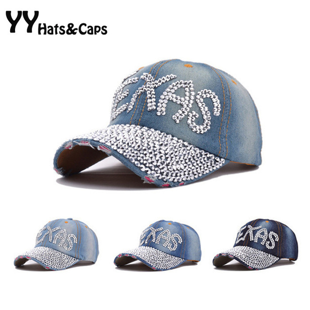 d522b34a85c Jeans Baseball Caps Woman Cool Ball Cap Rhinestones Hat Casual Texas Cap  Summer Style Retro Distressed Denim Snapback Cap YY0234