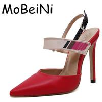 MoBeiNi Mulheres Sandálias Novas Designer Fivela Decalques Pontas Slingback Toe Stiletto Salto Alto Sexy Bombas Partido Sapatos de Casamento Mulher