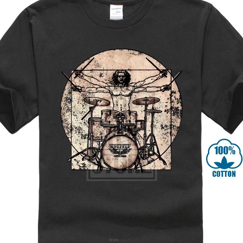 Vitruvian Drummer   T     Shirt   Leonardo Vinci Funny Tee Drums A02