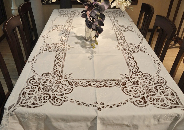 "Extra Long Old Fashion(72x108"")  Battenburg Lace  Embroidery Cotton  Table cloths.NO.419"