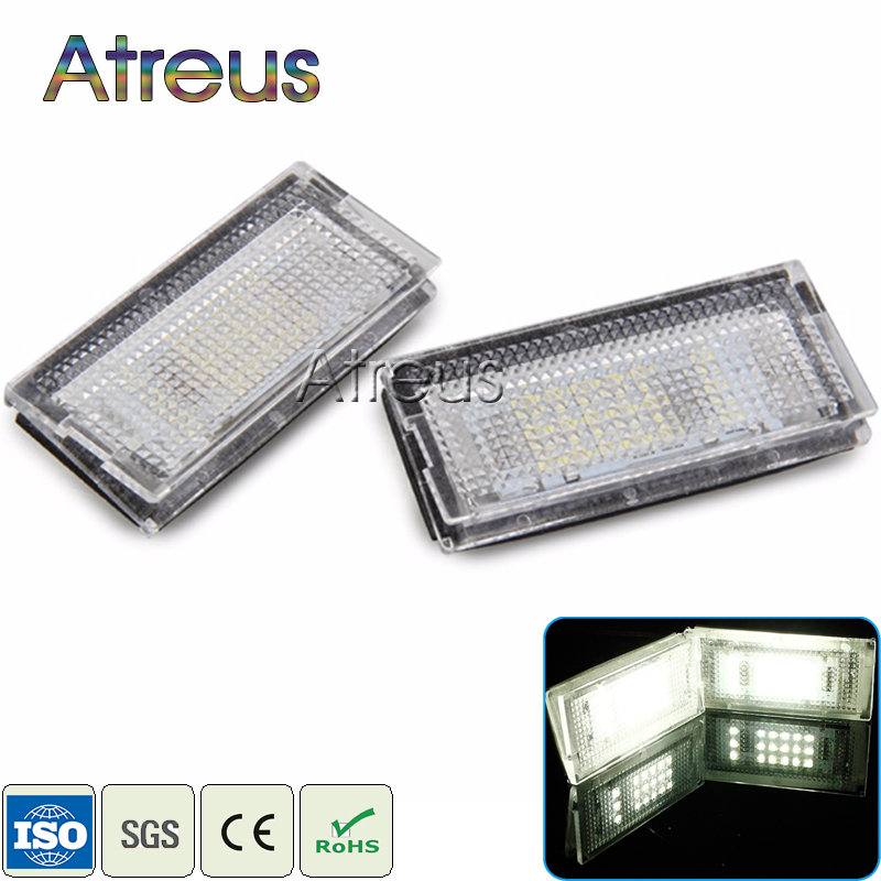 Atreus Car LED License Plate Lights 12V For BMW E46 4D 323i 325i 328i Accessories White SMD3528 LED Number Plate Lamp Bulb Kit fsylx error free white led number license plate lights for bmw e53 x5 12v led number license plate lights for bmw e39 z8 e52