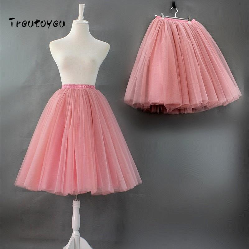 6 capas 65 cm Midi Tulle falda alta cintura plisado danza Tutu faldas Vintage Lolita enagua faldas rokken Jupe saia