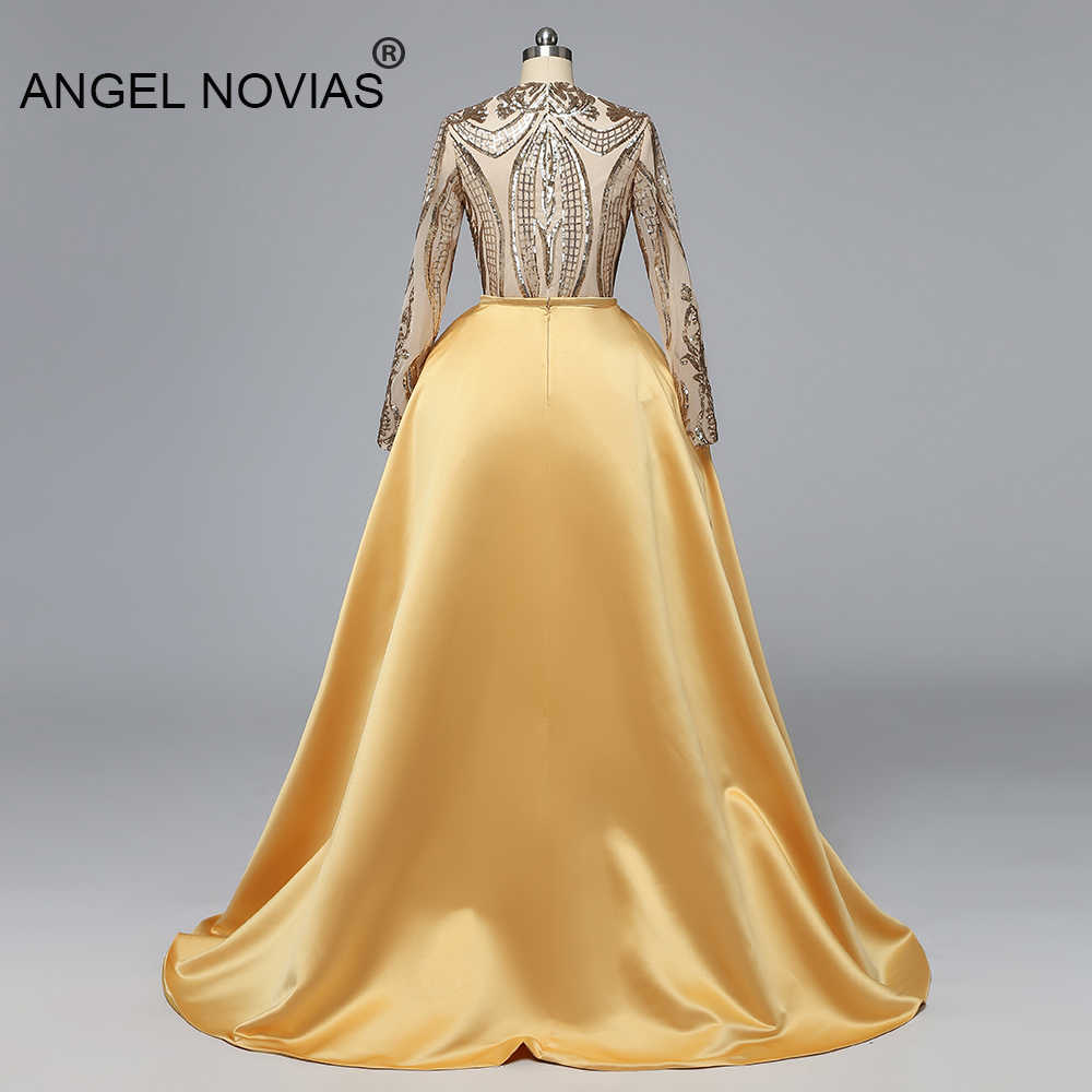 Ангел Novias с длинными рукавами мусульманский золотистое вечернее платье 2019 арабский, платье на выход для выпускного вечера вечерние платья 2019 со съемной юбкой