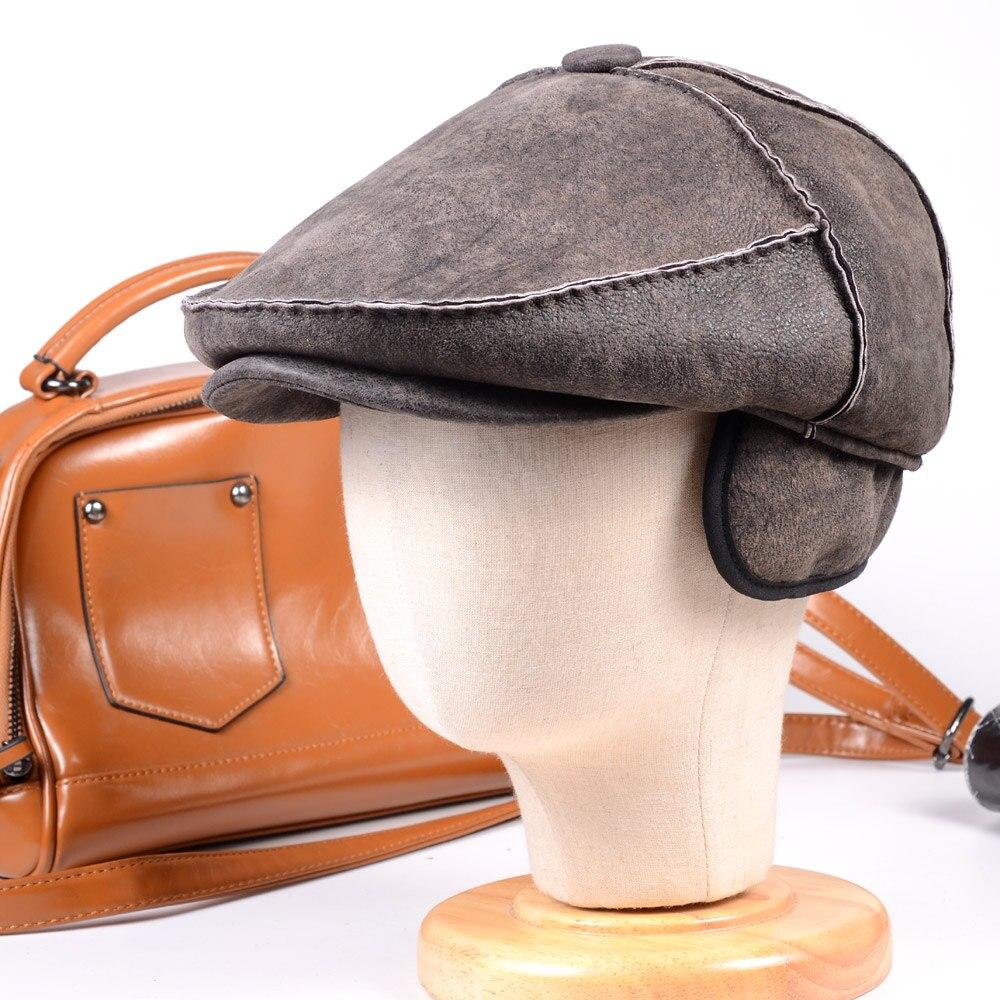 Hommes homme 100% réel fourrure hiver chaud peau de mouton à la main couture Casquette Casquette armée béret gavroche chapeaux/casquettes