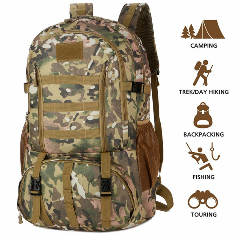 dc0d56fec7 Detail Feedback Questions about 60L Molle Camo Tactical Backpack Military  Army Waterproof Hiking Camping Backpack Tourist Rucksack Outdoor Sport  Climbing ...