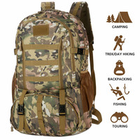 60L Molle Camo Tactical Backpack Military Army Waterproof Hiking Camping Backpack Tourist Rucksack Outdoor Sport Climbing Bag