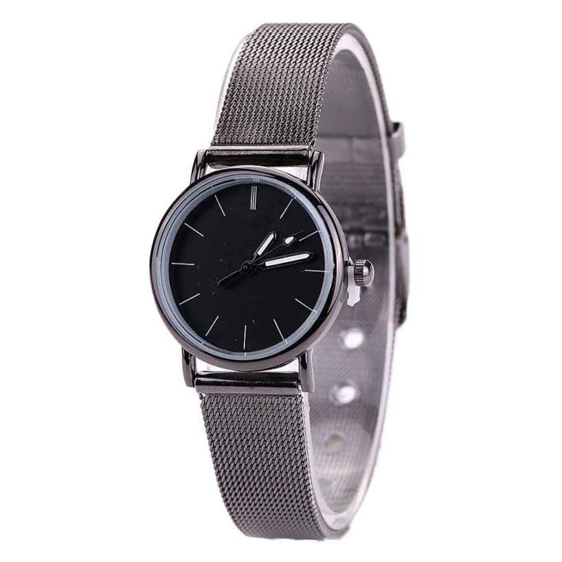 Relógio superior Mulheres Amantes Pulseira de Malha de Metal Moda Relógio de Pulso de Quartzo Aço Inoxidável Simples 22 de agosto *