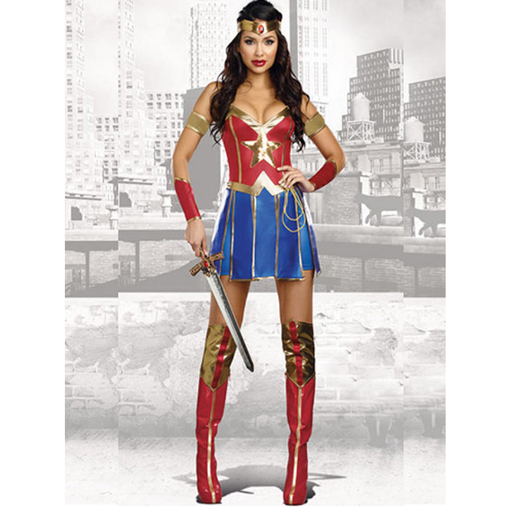 New Red Sexy Fancy Adult Supergirl Cosplay Dress with Boots Sheath Wonder Woman Role Pla ...