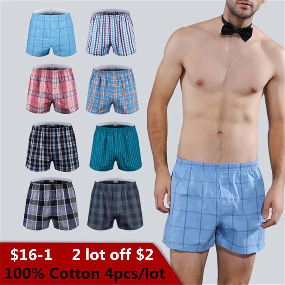 Classic Plaid Men's Boxers Cotton Mens Underwear Trunks Woven Homme Arrow Panties Boxer With Elastic Waistband Shorts Loose Men