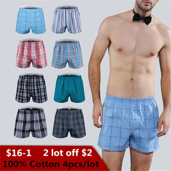 7e9b05cbabf3 Classic Plaid Men's Boxers Cotton Mens Underwear Trunks Woven Homme Arrow Panties  Boxer with Elastic Waistband Shorts Loose men
