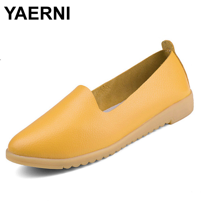 YAERNI New arrival spring solid women flats shoes genuine leather vintage women loafers casual 5 colors slip on flat shoes woman v966 020 tail blade parts for wltoys v966 v930 v977 v988