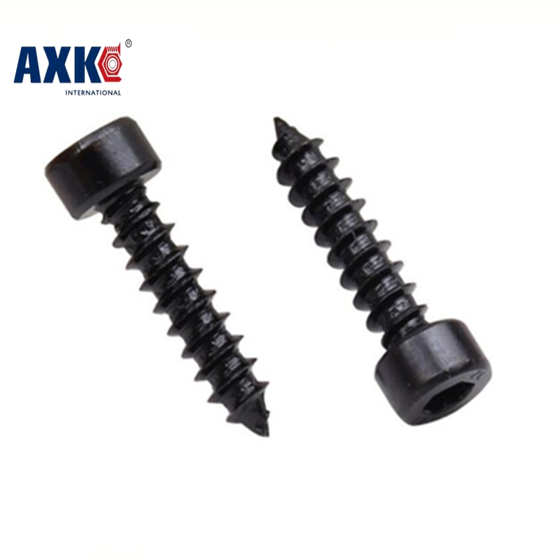 AXK 100pcs M6 Carbon Steel With Black Hexagon Socket Cap Head self tapping screw Model Screw M6*(16/20/25/30/35/40/50/60) mm 2pc din912 m10 x 16 20 25 30 35 40 45 50 55 60 65 screw stainless steel a2 hexagon hex socket head cap screws