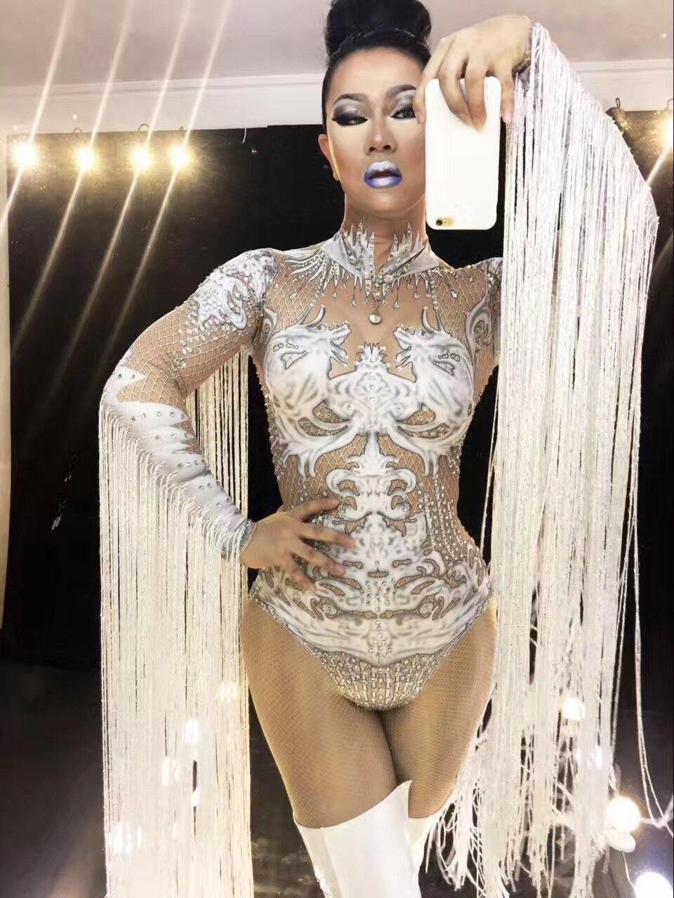 Nude Sexy Tassel Bodysuit Cosplay White Costume Performance Nightclub Women stage dance wear