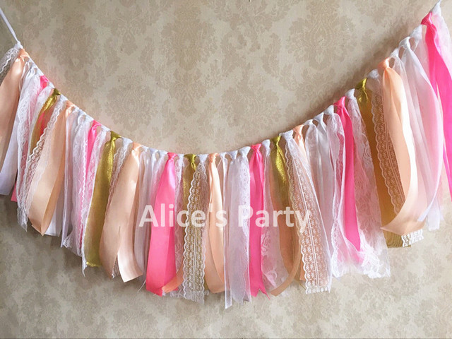 eee4ab63088 New Incarnadine pink gold white Lace Banner Girl Baby shower Highchair  Bunting Kids 1st Birthday Party Garland Nursery Hanging