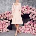 Rosa Na Altura Do Joelho-Comprimento Vestido de Cocktail Vestido de Noite Curto Mãe Da Noiva Vestidos de Madrinha