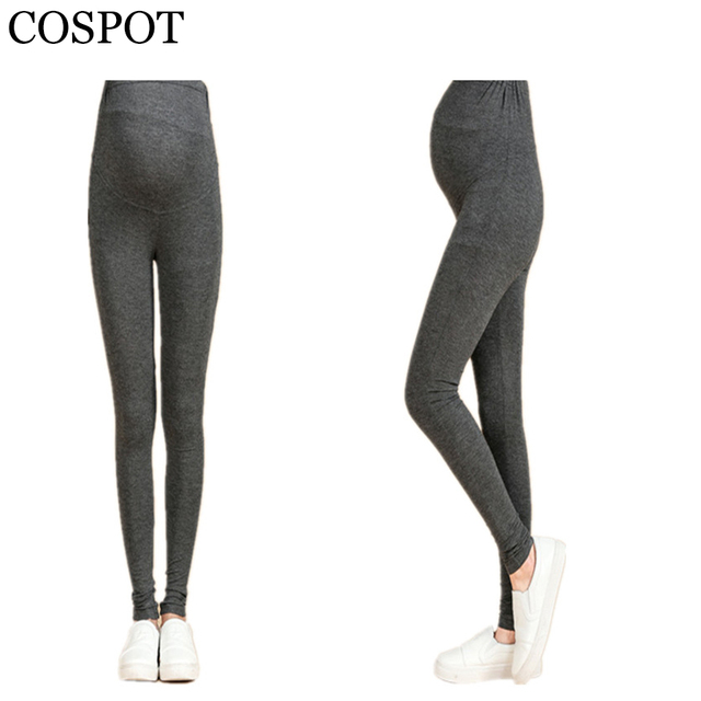 02091931ae US $6.47 29% OFF|Pregnant Woman Leggings Plain Color Black Gray Pants for  Pregnancy Women Waist Abdominal Spring Cotton Trousers 2017 30-in Leggings  ...