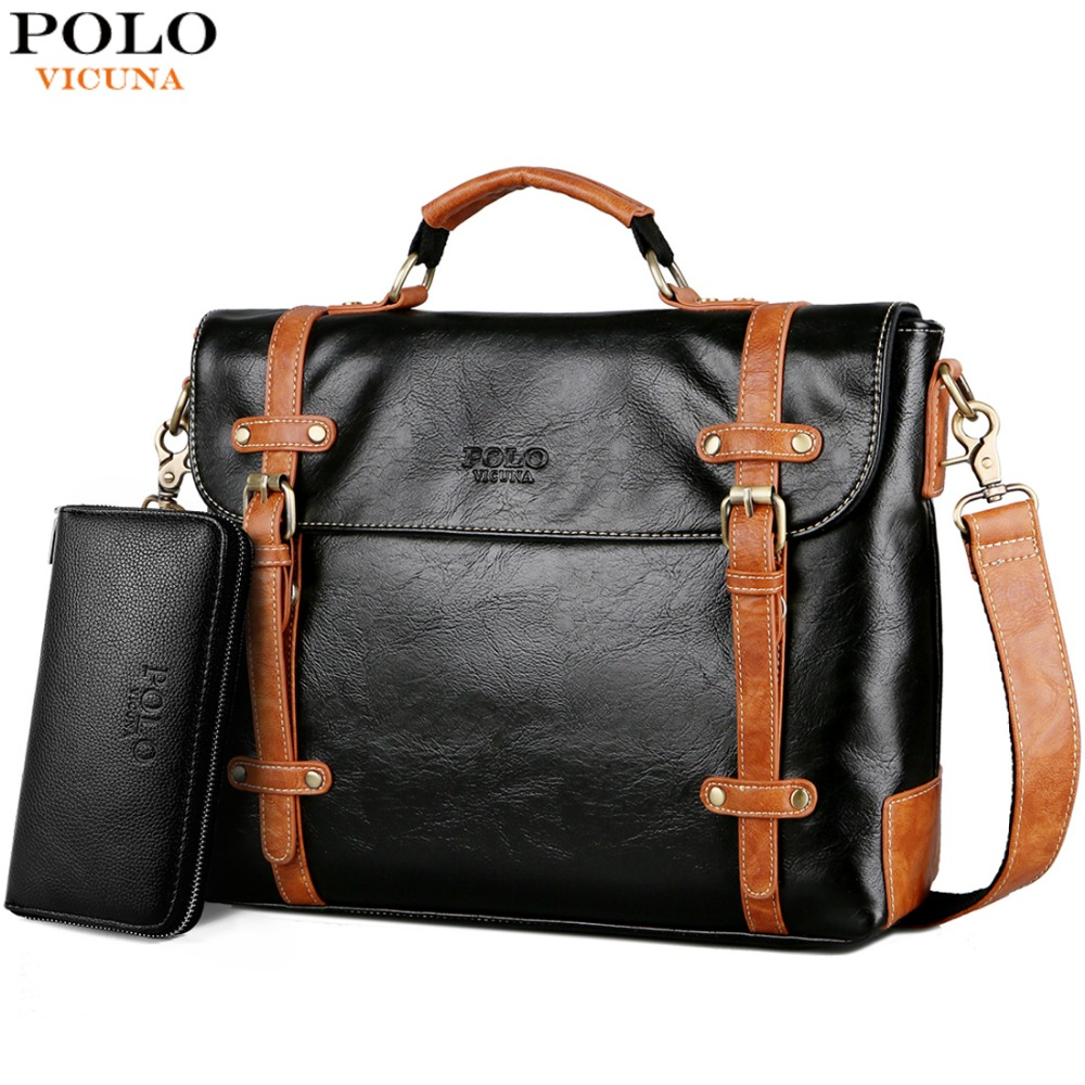 VICUNA POLO New Contrast Color High Quality Man Leather Handbag Travel Vintage Laptop Bags Men Briefcase Men's Business Handbag