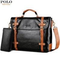 VICUNA POLO New Contrast Color High Quality Man Leather Handbag Travel Vintage Laptop Bags Men Briefcase Men's Business Handbag