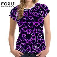FORUDESIGNS Pretty Purple Heart Pattern Tshirt for Women Beautiful Ladies Summer Tops Tee Short Sleeve Fashion Female T shirt
