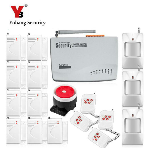 YobangSecurity  Russian Voice 4 Wired 6 Wireless Zones GSM Alarm System Security Home PIR Motion Detector Door Alarm Sensor yobangsecurity touch keypad wireless gsm sms smart home security burglar alarm system smoke sensor voice pir motion door window