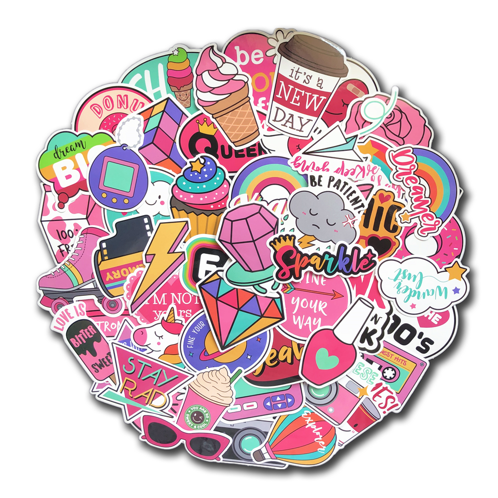 60 Pcs PVC Waterproof Girls Kawaii Pink Fun Sticker Toys Luggage Stickers For Moto Car & Suitcase Cool Fashion Laptop Stickers