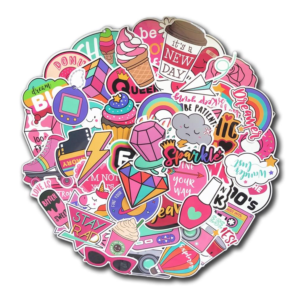 60 Pcs PVC Waterproof Girls Kawaii Pink Fun Sticker Toys Luggage Stickers For Moto Car & Suitcase Cool Fashion Laptop Stickers