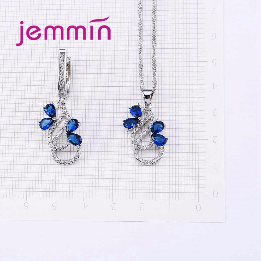 Luxury 925 Sterling Silver Necklace Earrings Set For Women Female Party Bule Austrian Crystal Jewelry High Luxury 925 Sterling Silver Necklace Earrings Set For Women Female Party Bule Austrian Crystal Jewelry High Quality