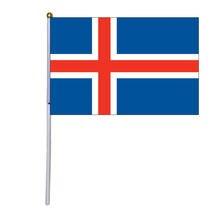 Бесплатная доставка xvggdg 100 шт 14*21 см ручной флаг Исландии